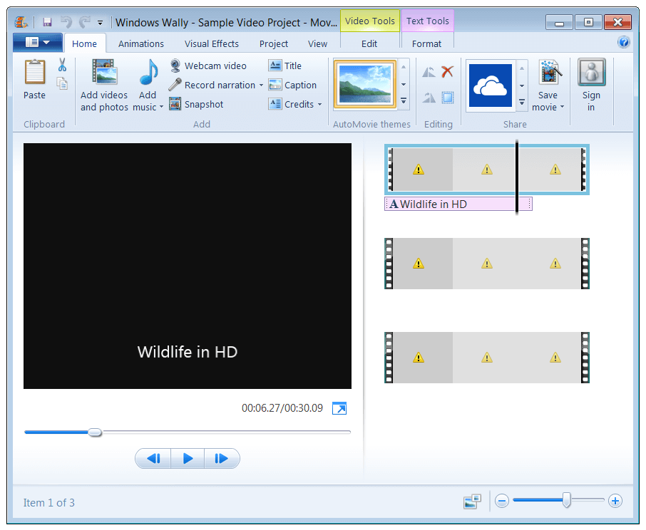 Windows Movie Maker - Yellow Triangles - Windows Wally