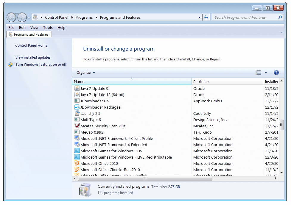 Add or Remove Programs