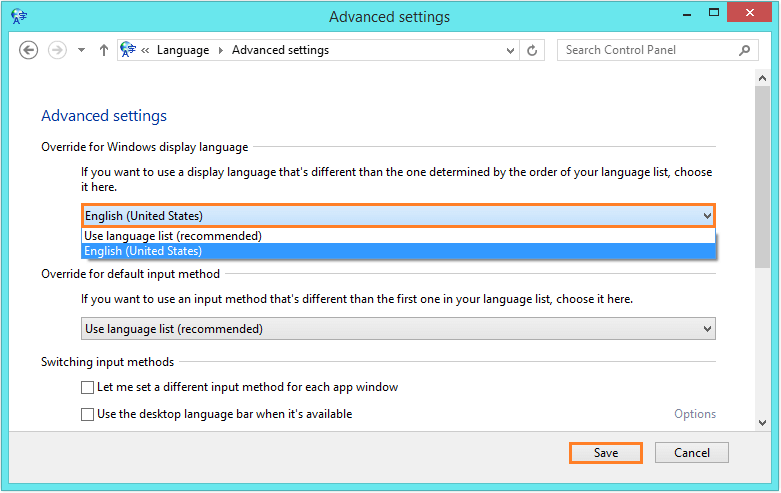 Language Pack not usable - control panel - Advanced Settings 2 - WindowsWally