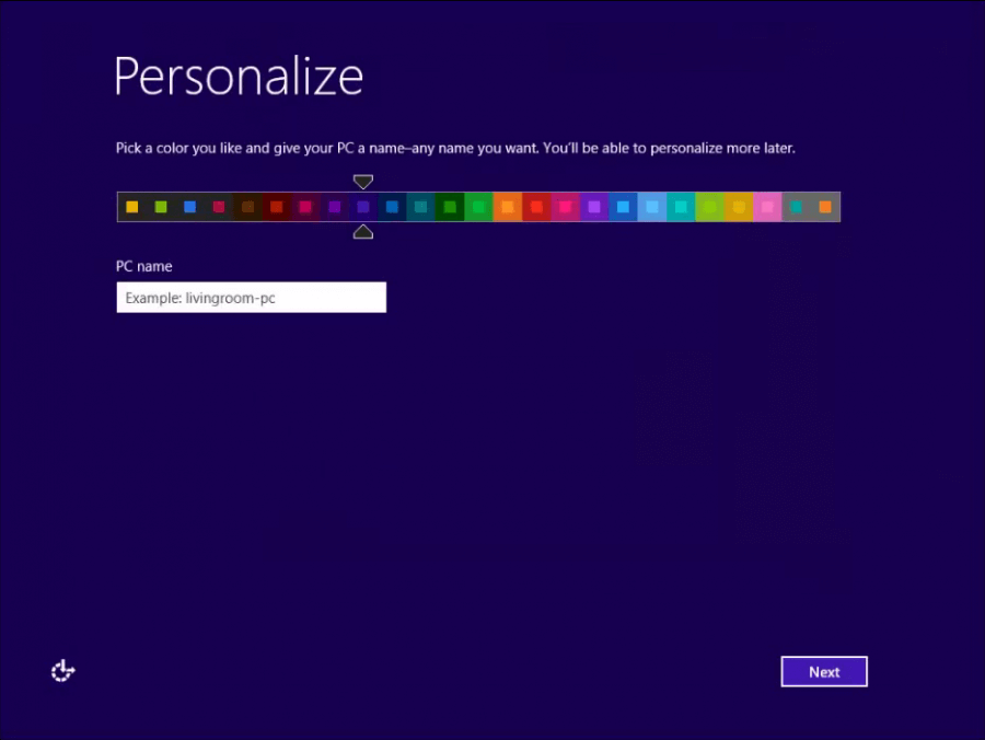 Install Windows 8 - 5 -  Personalise - WindowsWally