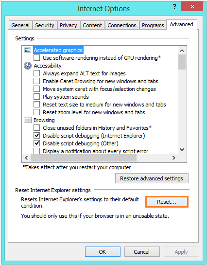 Internet Explorer 11 - Internet Options - Advanced - Reset -- Windows Wally