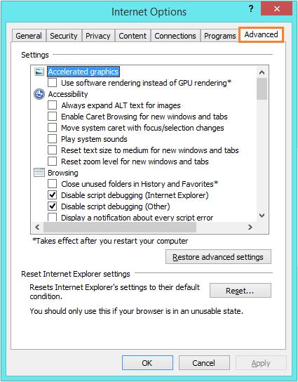 Internet Explorer 11 - Internet Options - Advanced -- Windows Wally
