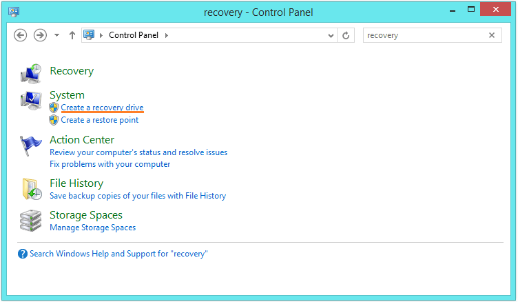 Recovery Drive - Control Panel - Recovery -- Windows Wally