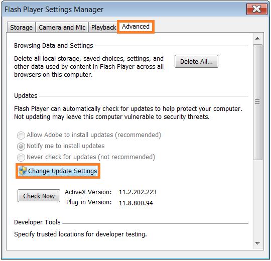 Software Updates - Adobe Flash - control panel - Advanced - change update -- WindowsWally