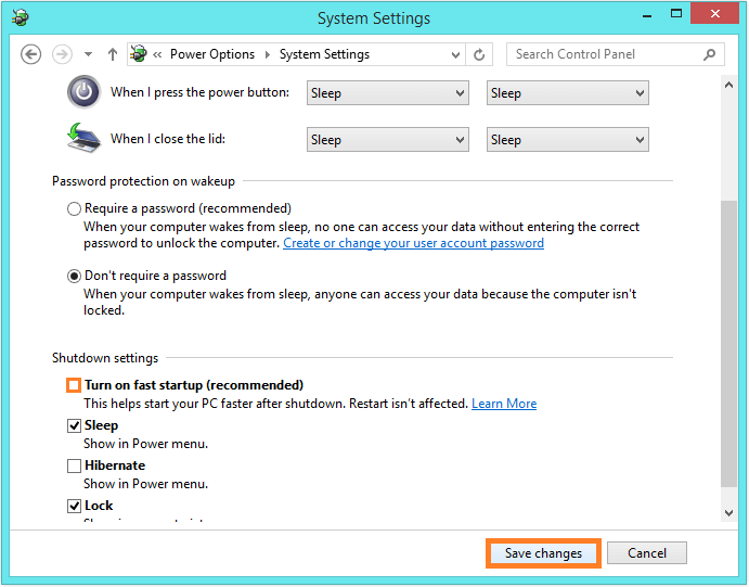 Windows 8 Shut Down - control panel - power options 3 -- Windows Wally