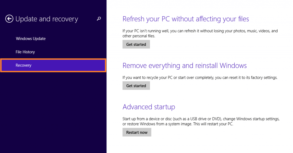 Windows 8.1 Reset - Change PC Settings - Update and recovery - Recovery -- Windows Wally