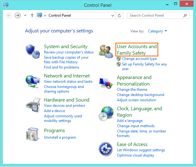 Windows 8.1 Speed - Control Panel - User Accounts and Family Safety -- Windows Wally