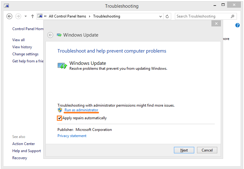 Windows Update - Control Panel - Troubleshooting - Fix problems with Windows update - 3 -- Windows Wally