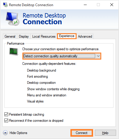 Remote Desktop - Experience - Detect Connection Quality Automatically - Connect -- Windows Wally