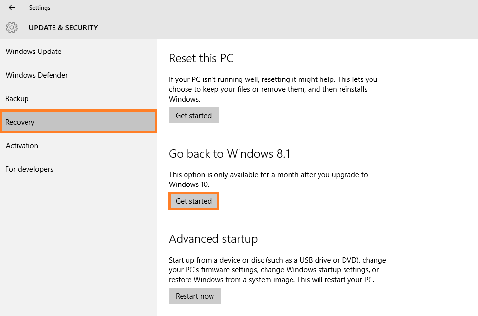 Windows 10 - Go Back - Update & Security - Recovery -- Windows Wally