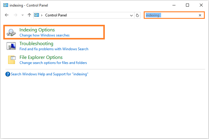 Windows 10 - Start Menu - Control Panel - Indexing Options -- Windows Wally