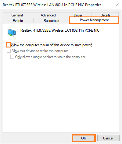 Windows 10 - Wifi Disconnect - Device Manager - Properties - Allow the computer to turn off this device to save power - Windows Wally