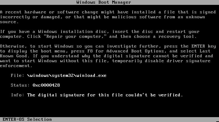 0xC0000428 - Cover - Error - Windows Wally