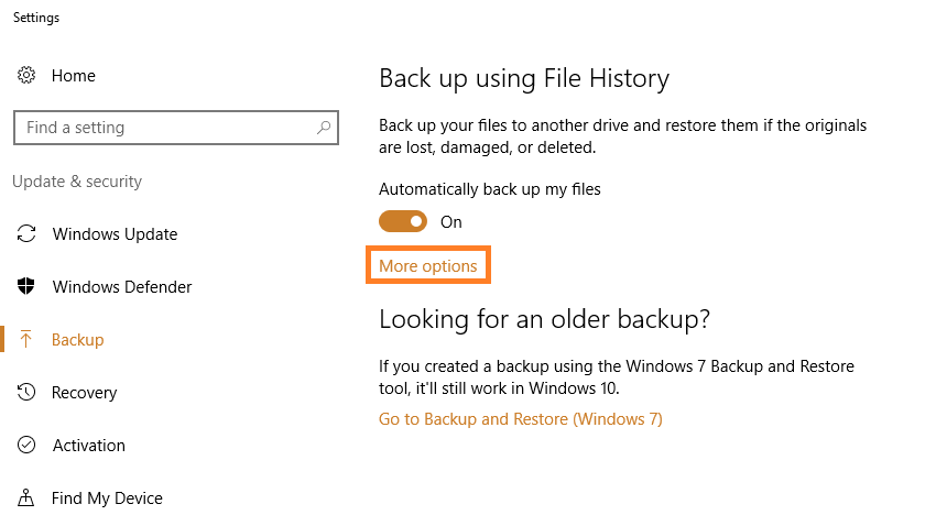Windows 10 - File History - Backup Settings - 2 - Windows Wally