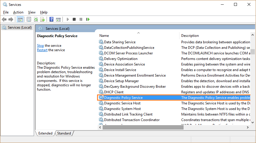Windows Telemetry service - Services - Diagnostic Policy Service - Windows Wally