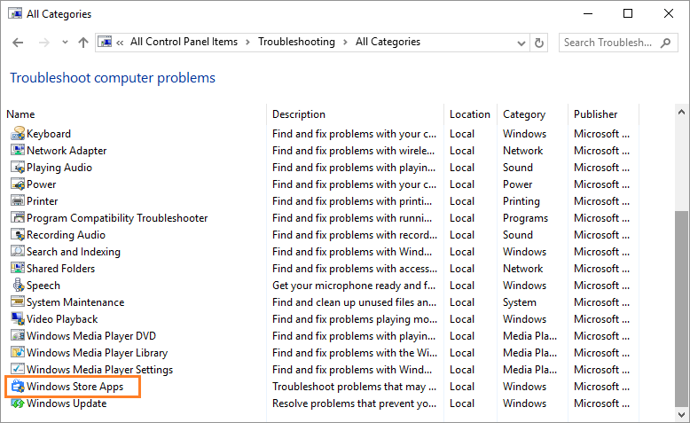 0x8E5E0407 -- Windows 10 - Control Panel - Troubleshooting - Vew all - Windows store apps - Windows Wally