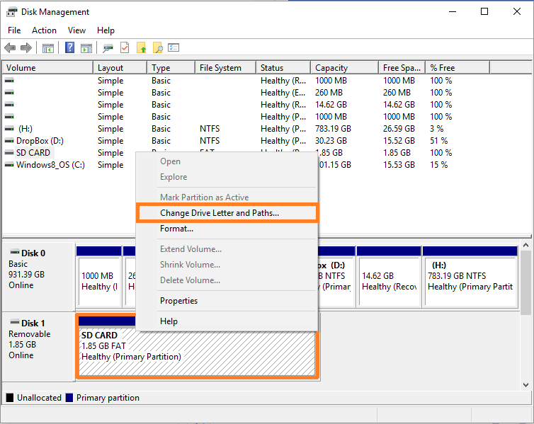Disk manager -- format SD card - 6 - Windows Wally