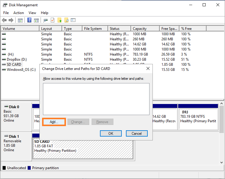 Disk manager -- format SD card - 7 - Windows Wally